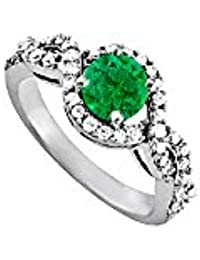 Awesome May Birthstone Emerald and CZ Ring 1.50 TGW