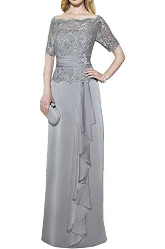 ivyd ressing Donna Scollo A U metà giromanica A-line di Lang Chiffon & pizzo Party Festa Prom abito abito sera vestito argento 44