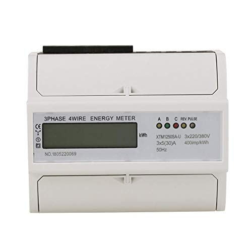 Energy Meter Digital LCD 3-Phase 4 Wire 7P Electronic KWh Meter DIN-Rail Electric Meter ,3 x 220V/380V (5(30) A)