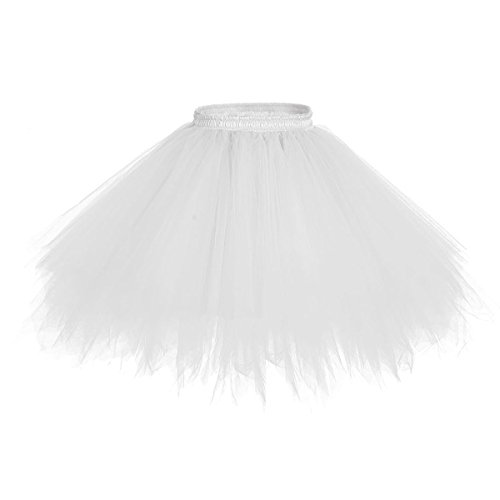 DYS Women's 1950s Knee Length Petticoat Slips Tulle Ballet Bubble Tutu Skirt White XXL