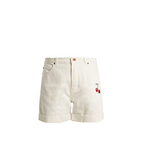 愛撫費やす修羅場(ブリスアンドミスチーフ) Bliss and Mischief レディース ボトムス?パンツ ショートパンツ Cherry-embroidered high-rise denim shorts [並行輸入品]