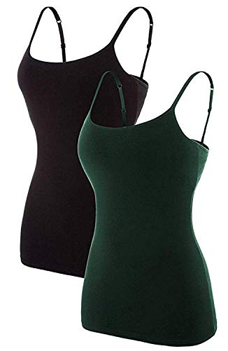 (Vegatos Womens Cotton Camis Tanks Top Shelf Bra Camisole Pack of 2 Black/Green M)