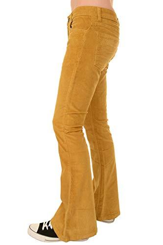 Run & Fly Mens 70s Retro Vintage Honey Gold Stretch Corduroy Bell Bottom Flares 34 Regular