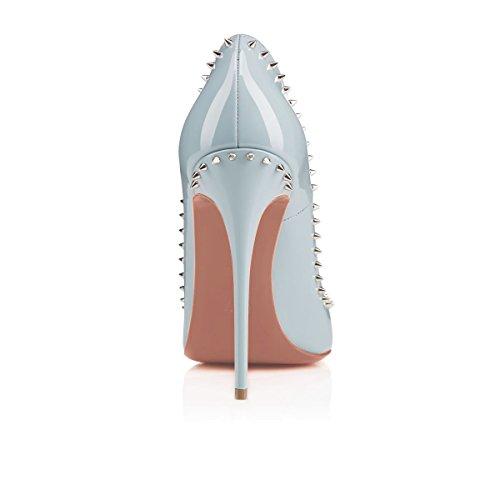 Arc-en-Ciel zapatos de mujer de alta del talón de la bomba tachonado sky Azul