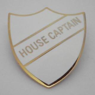 House Captain Enamel School Shield Badge - White - Pack of 10
