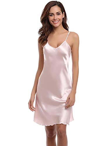(liberalism Sexy Nightshirts Satin Spaghetti Strap Chemises Slip Nightgown Sleepwear Women's Dresses(Pink,Large))