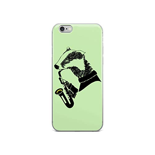 iPhone 6/6s Case Anti-Scratch Creature Animal Transparent Cases Cover A Badger Playing A Saxophone A Fun Black and White Ima Animals Fauna Crystal Clear
