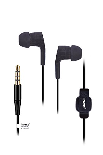 INext   in Ear Headphones with Mic  Charcoal Black  for Samsung and Android Devices