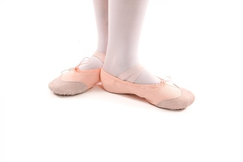 Canvas ballet slippers with leather reinforcements, split sole, pink-apricot and white Pink-apricot