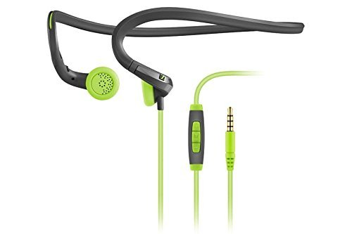 (Sennheiser PMX 684i Fitness Workout Sports Running and Cycling Earbud/in ear Ultralight Compatible with Apple/iPhone/iPad Neckband Headphone Grey/Green color Headset sweat and water resistant)