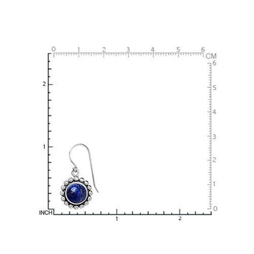 Silvershake 8mm Genuine Lapis 925 Sterling Silver Balinese Style Dangle Hook Earrings