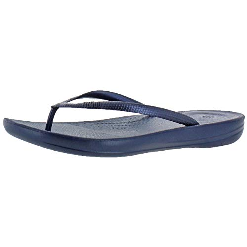 FitFlop Iqushion Ergonomic Women's Jelly Thong Flip Flop Sandals Navy Size 10 ()