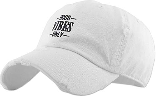 KBSV-128V WHT Good Vibes Only Dad Hat Embroidered Cotton Baseball Cap -