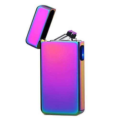 lcfun Dual Arc Plasma Lighter USB Rechargeable Windproof Flameless Electric Lighter for Cigar,Candle -