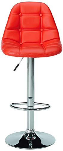 Kings Brand Furniture Contemporary Adjustable Height Vinyl Upholstery Bar Stool with Chrome Base Set of 2 , Red