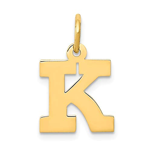 14k Yellow Gold Small Block Initial Monogram Name Letter K Pendant Charm Necklace Fine Jewelry Gifts For Women For Her