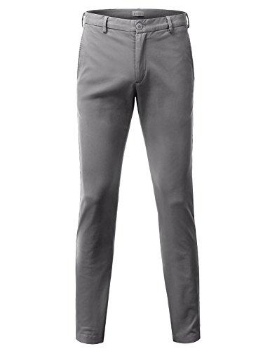 Doublju Mens Slim Fit Cotton Twill Flat Front Chino Pants GRAY