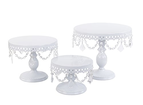 (VILAVITA 3-Set Antique Cake Stand Round Cupcake Stands Metal Dessert Display with Crystal Beads, White)