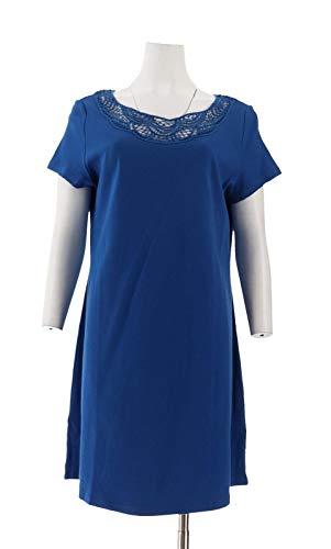 Liz Claiborne NY Elegant Petite Knit Dress Lace Sapphire Blue PM New A254132 ()