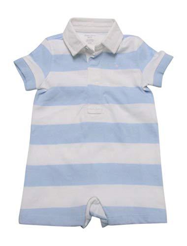 (Ralph Lauren Baby Boys Shortalls Bodysuit Striped Smooth Cotton (3 Months, Beryl)