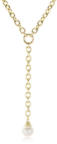 ISAAC WESTMAN 14K Yellow Gold Lariat Necklace with Japanese Akoya Cultured Pearl 7.5-8mm, 18