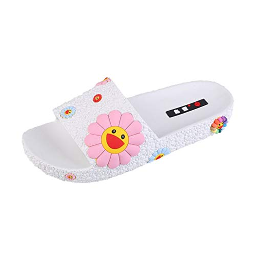 OutTop(TM) Women's Shower Home Shoes Fashion Colorful Sunflower Pattern Beach Slippers Slip On Flat Slides (US:7.5, White)