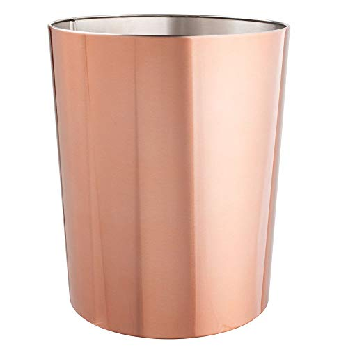 mDesign Round Metal Small Trash Can Wastebasket, Garbage Container Bin for Bathrooms, Powder Rooms, Kitchens, Home Offices, Durable Stainless Steel - Rose Gold