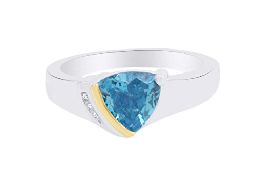 Two Tone Sterling Silver White Natural Diamond Accent & Simulated Blue Topaz Solitaire Ring (1/10 cttw, I-J Color, I3 Clarity) Ring Size-6.5 0.10 Cttw Natural