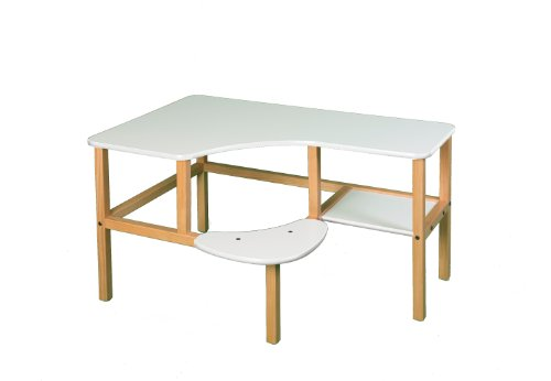 Wild Zoo Furniture Childs Wooden Computer Desk for 1, Ages 5 to 10, White -  grd wht/wht-wz