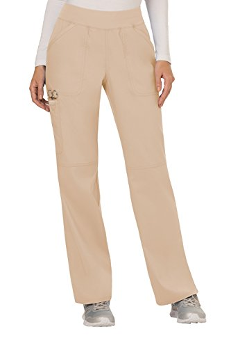 Cherokee Women's Mid Rise Straight Leg Pull-on Pant, Khaki, Large