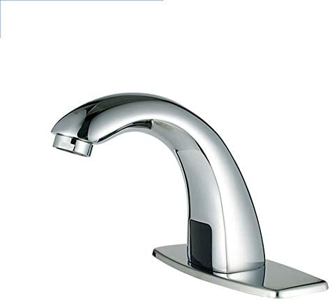 ホールカバープレートと自動センサータッチレス浴室のシンクの蛇口、クローム流域水栓、ハンズフリーバスルームの水タップ