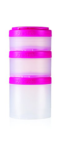 BlenderBottle ProStak Twist n' Lock Storage Jars Expansion 3-Pak with Pill Tray, Clear/Pink