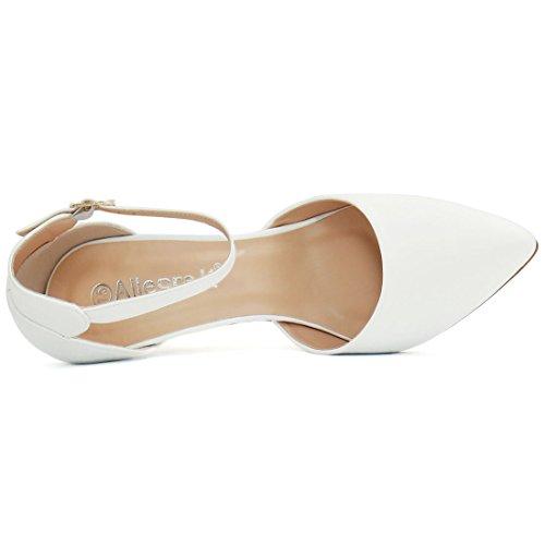 Zapatos De Tacón De Tobillo Para Mujer Allegra K Stiletto Blanco