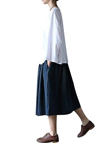 Tops en Coton Youlee Court Femmes Blanc Printemps Automne qn4ngtfZ