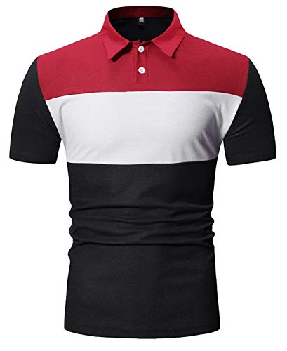 (FRTCV Men Short Sleeve Polo Shirts Casual Cotton Rugby T-Shirts Tops US M/Asian L Black PL25)