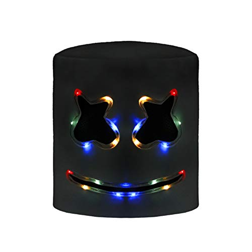 molezu Top 10 DJs Marshmello Helmet Music Festival Marshmallow Head Mask Halloween Costume Party Latex Mask White Multicolored LED ()