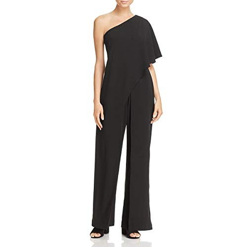 Adrianna Papell Women's Petite Flutter One Shoulder Jumpsuit, black, 10P