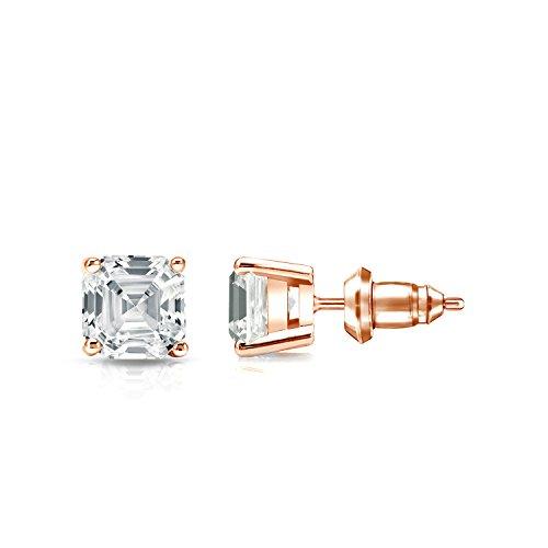 IGI Certified 14k Rose Gold 4-Prong Basket Asscher-cut Diamond Stud Earrings (1ct,White,SI1-SI2)