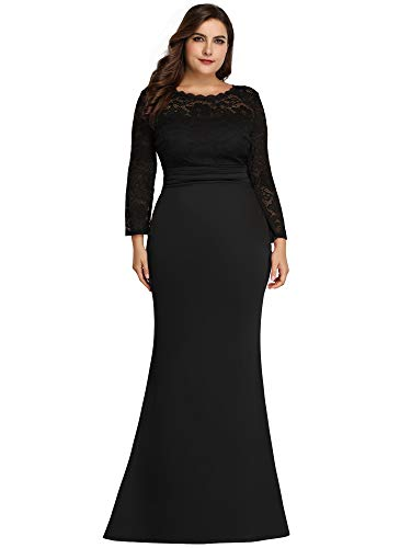 Women's Long Sleeve Floral Lace Bridesmaid Dress Floor-Length Mermaid Dress Black US18