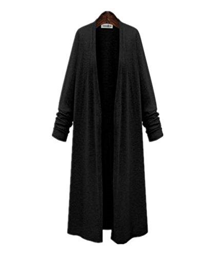 [プラセル] オールシーズン 薄手 大きめサイズ シンプル ロング カーディガン レディース L?5Lサイズ 黒/グレー
