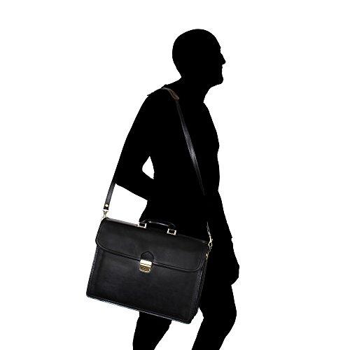 Borse Chicca Made Portatile Portadocumenti Tracolla Porta Italy a Nero Borsa in Lavoro Vera con in Donna 39x30x17 Uomo da Pelle Mano Cm TU6AqF
