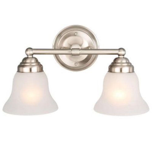 Hampton Bay 612 708 2-Light Vanity-2-Light Brushed Nickel - Mirrors Bay Bathroom Hampton