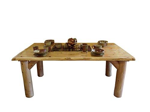 Furniture Barn USA Rustic White Cedar Log Dining Table & 6 Chairs Set