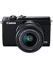 Canon EOS M100 SLR Digitalkamera (24,2 MP, Dual Pixel CMOS AF, DIGIC 7, Full-HD, Touchscreen, WIFI, Bluetooth, 7,5 cm, klappbares Display) mit Objektiv schwarz