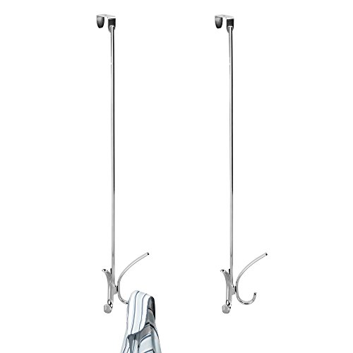mDesign Extra-Long Over Door Hook Rack - Storage Organizer with 4 Hooks for Coats, Hoodies, Hats, Scarves, Purses, Leashes, Bath Towels & Robes - 24'' Quad Design, Pack of 2, Durable Steel, Chrome by mDesign
