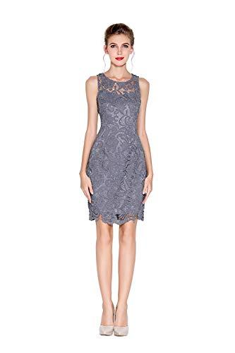 Flirty Cocktail Dresses - Little Smily Women's Crochet Lace Form Fitting High Neck Cocktail Bodycon Dress, Matte Charcoal, S