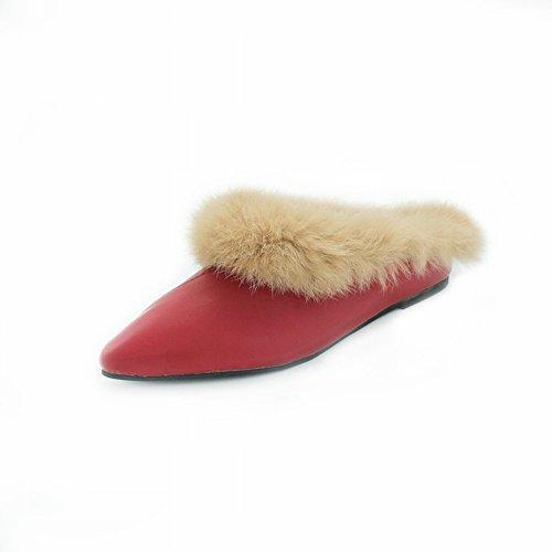 Zapatos Piso con Peludos Punta rojo Planos Baotou Perezosos EUR34 Zapatos 5 Moda de con de qqwpnftS