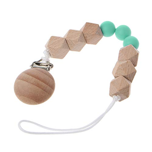 Cencity Beech Wooden Pacifier Clip Chain Dummy Chain with Beads Baby Nipple Soother Leash Strap Holder Perfect Set (Green)