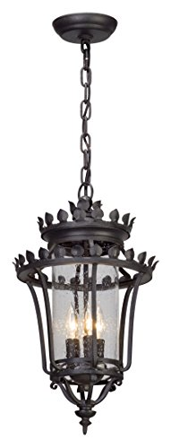 (Troy Lighting F5137 Greystone 3-Light Outdoor Pendant with Clear Seeded Glass, Forged Iron)