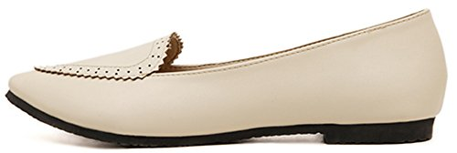 Difyou Womens Casual Pointy Slip On Shoes Pumps Flats Beige grA2YnSMO